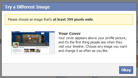 ... > Facebook Cover Photos 399 Pixels Wide And At Least 150 Pixels Tall